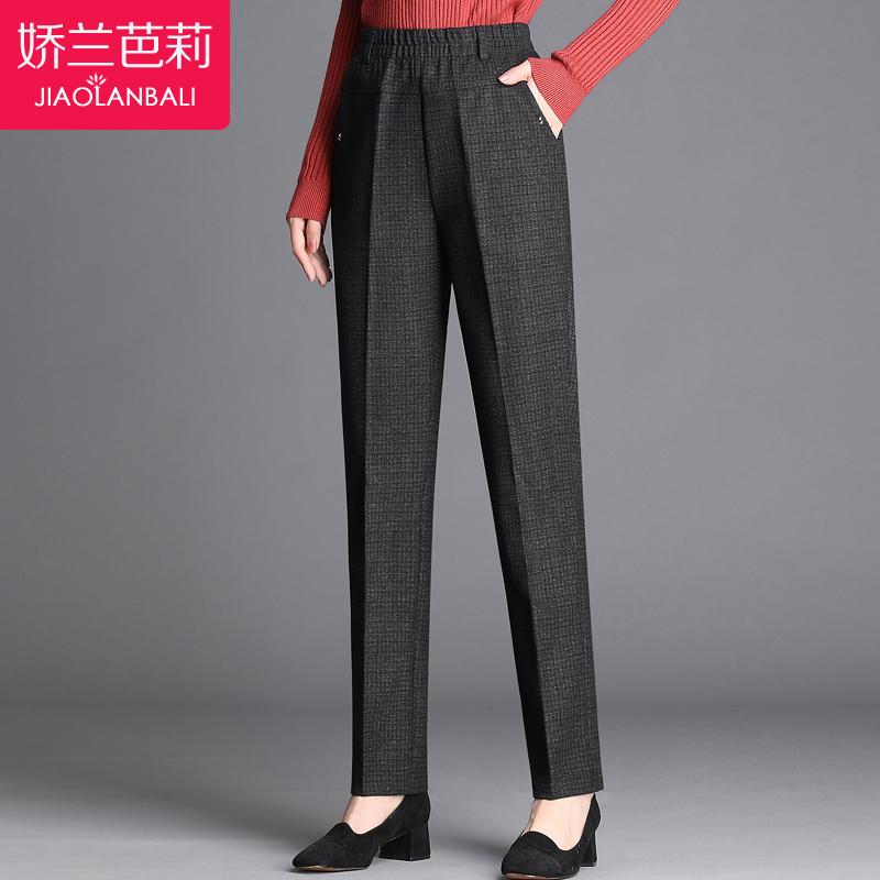 中老年毛呢秋冬季女装长裤子2018新款中年人冬天妈妈装大码直筒裤