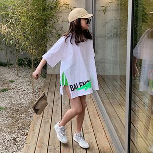中大童潮童装 宽松休闲百搭白色开叉字母印花T恤运动套装 女童夏装
