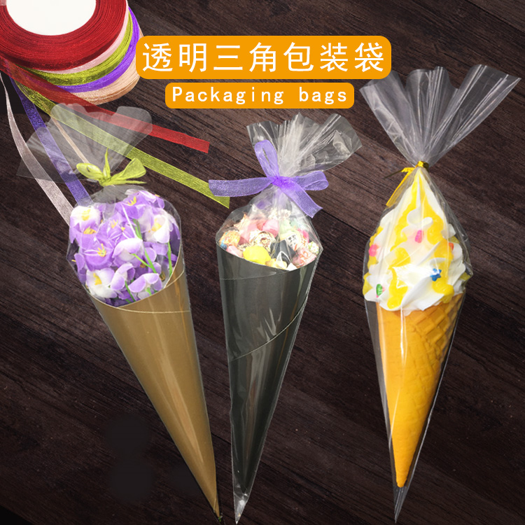 Hot selling transparent OPP ice cream packaging bag triangle plastic bag protein sugar popcorn cone baking bag