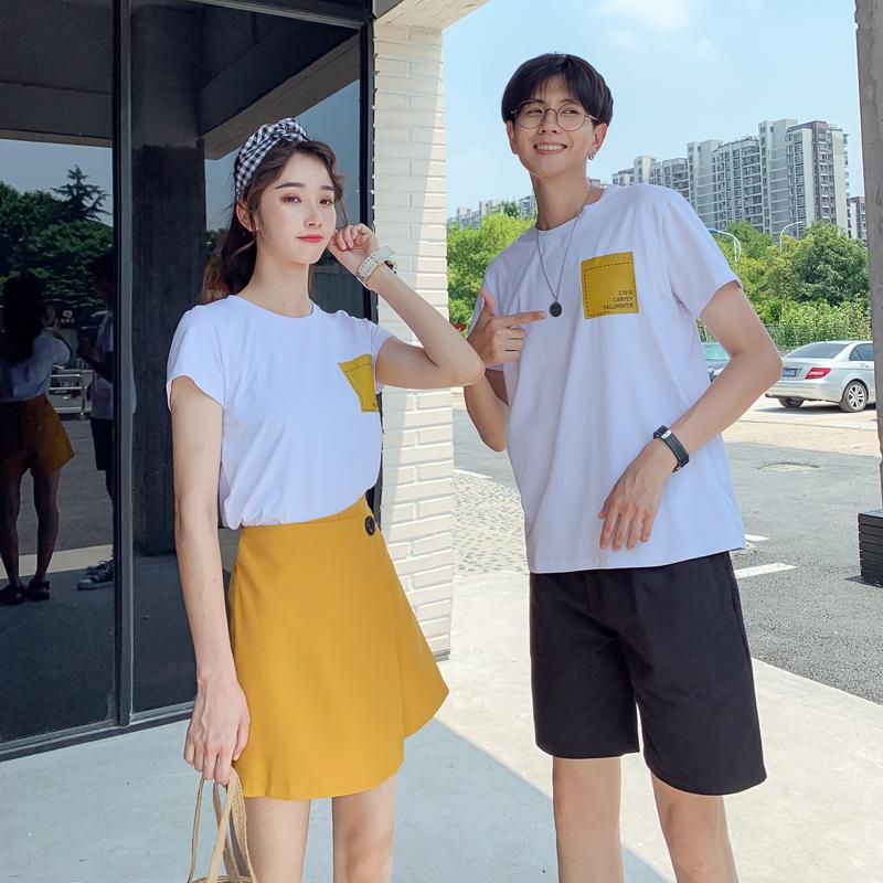 2020新款情侣套装夏季纯棉T恤短裤短裙套装班服A469-8817P55