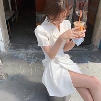 法式绑带西装领短袖收腰显瘦气质连衣裙女