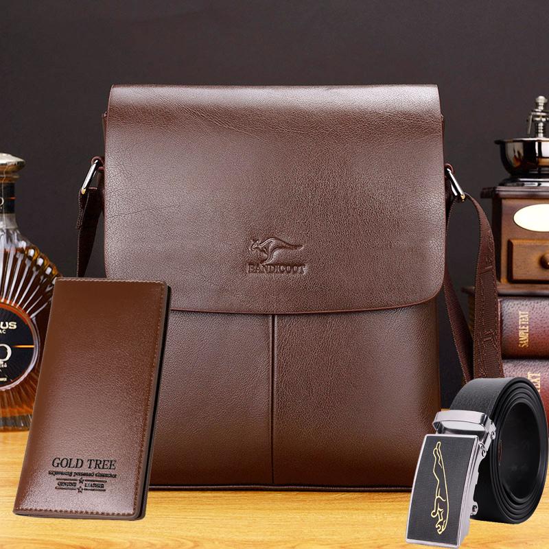 巴诺袋鼠男包包单肩包斜挎包 男休闲包竖款男式背包商务公文皮包