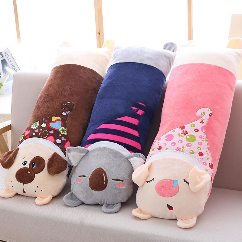 卡通动物长条毛绒抱枕睡觉靠垫靠枕可拆洗情侣单双人枕头男朋友枕