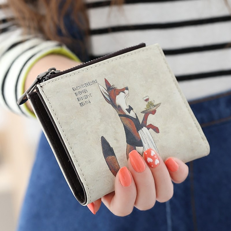 Japanese and Korean cartoon ultra thin folding double zipper buckle small change wallet student womens purse short package