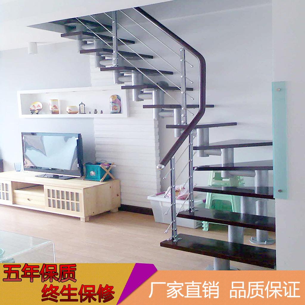 定制斜梁楼梯室内隔层阁楼 梯实木家用旋转复试别墅直梁L整体楼梯