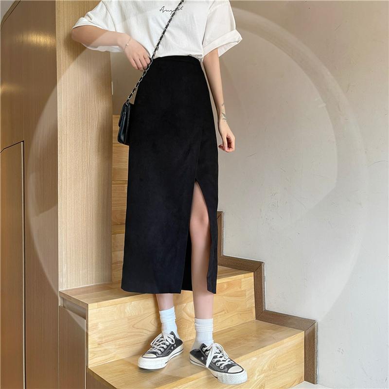 中國代購|中國批發-ibuy99|西装裙|高腰长裙西装开叉a字裙子性感中长款半身裙女少女裙2021夏季新款
