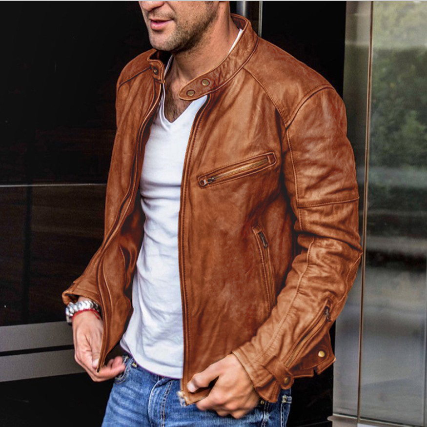 New upgrade men's washed leather jacket men's high-end stand collar punk men's motorcycle leather jacket py71-p110