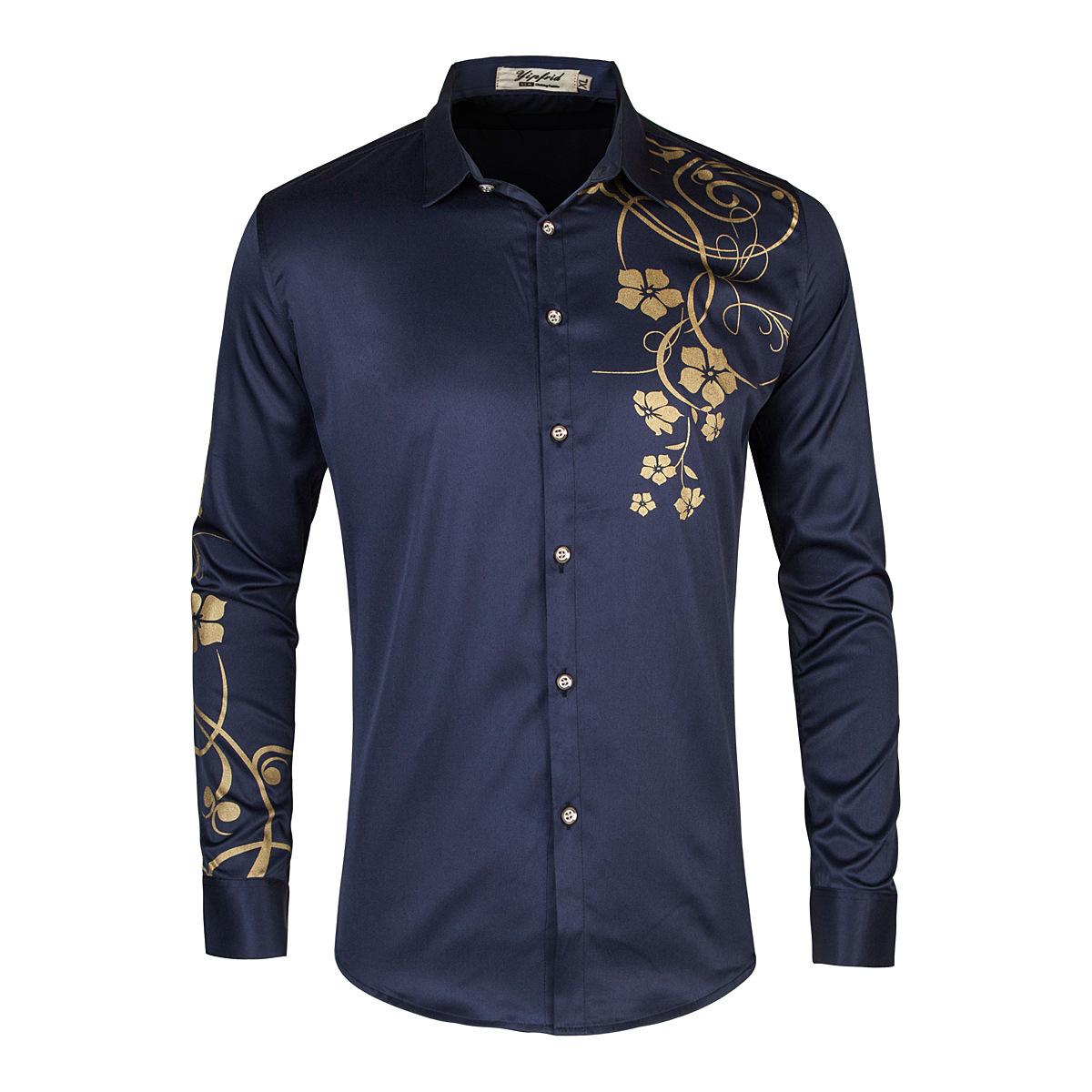 2020春夏新款男士气质低调时尚潮流印花衬衣百搭长袖衬衫C256P45