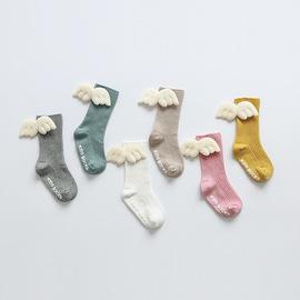 婴幼儿长筒袜不勒长腿防蚊春夏季高筒卡通儿童中筒会飞的天使袜子图片