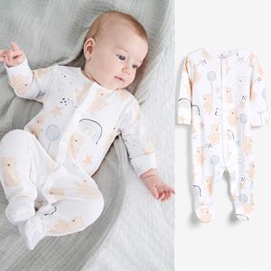 现货!英国NEXT男女童婴儿宝宝可爱小熊秋冬款睡衣爬服纯棉连体衣