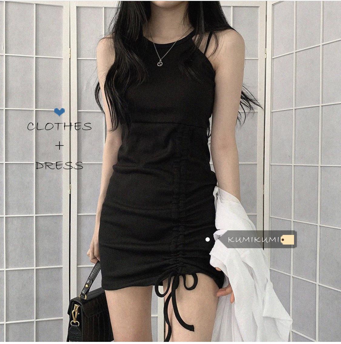 辣妹穿搭抽绳显瘦吊带裙夏季小个子挂脖性感气质连衣裙黑色裙子女
