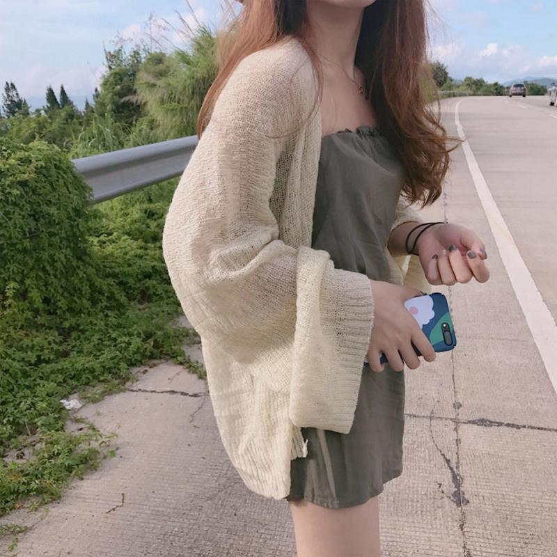 夏季韩版纯色甜美学院风学生慵懒百搭宽松防晒开衫薄毛衣外套女潮