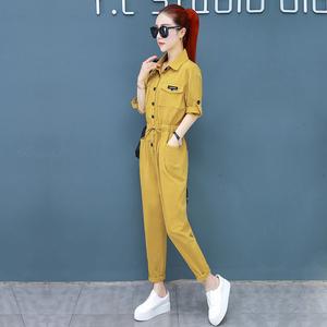 2021夏季女士新款休闲中袖牛仔连体裤修身显瘦收腰工装连衣裤套装