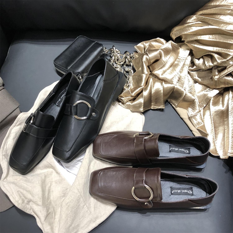 一脚蹬乐福鞋2019夏款黑色小皮鞋子女平底百搭英伦风软皮单鞋潮鞋