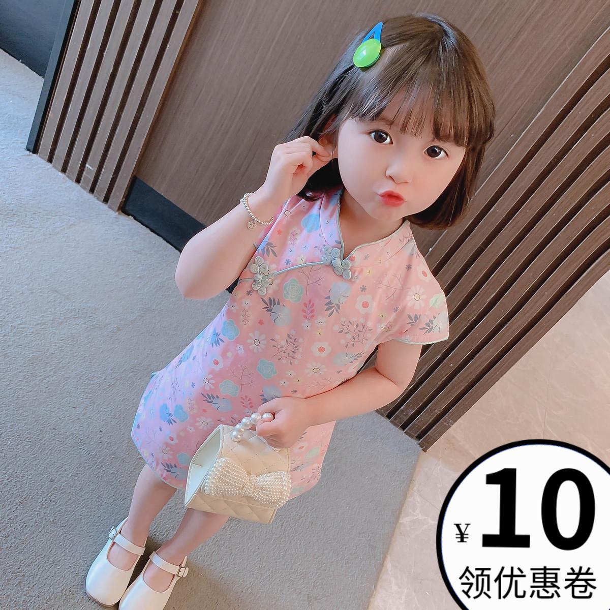 女童旗袍裙2021夏装宝宝汉服唐装小女孩碎花公主裙儿童中国风裙子