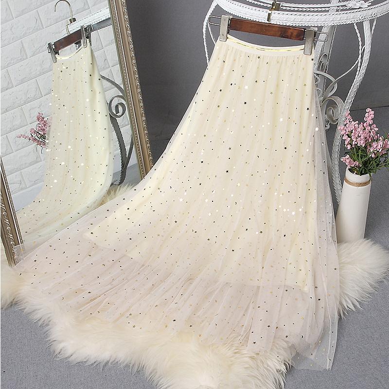 很仙的网纱2019秋冬新款亮片半身裙券后49.90元