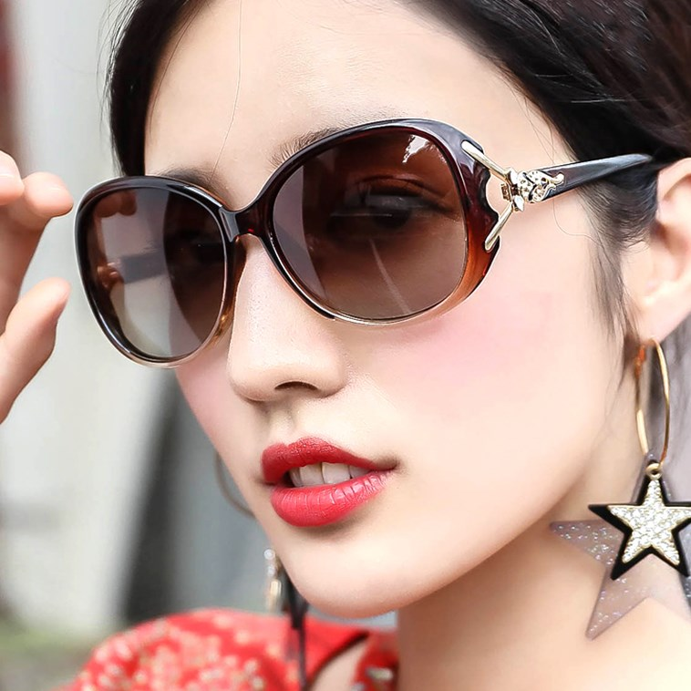 Middle aged womens polarized sunglasses mothers round face Sunglasses personalized UV comfortable and elegant driving glasses