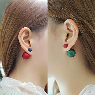 925純銀磨砂大小珍珠耳釘前後雙面耳環女日韓氣質簡約百搭耳飾品