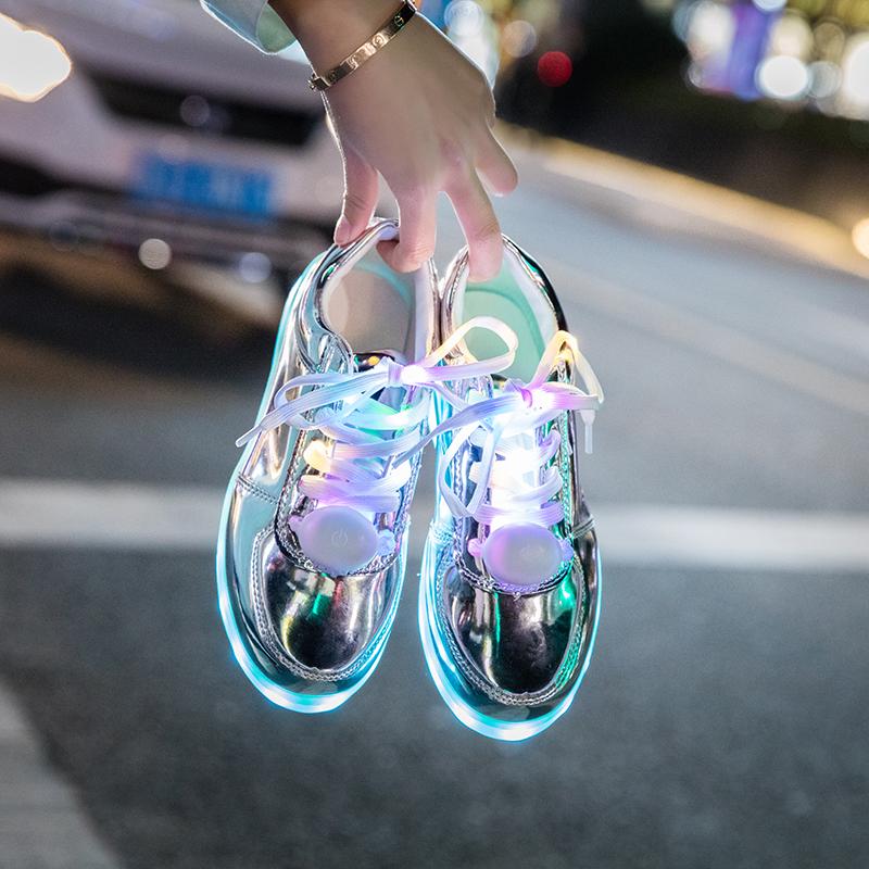 防水充电七彩发光鞋男女情侣亮灯鞋