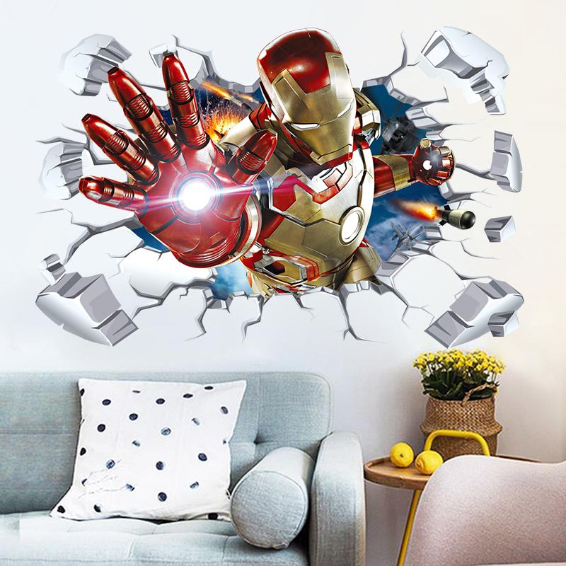 漫威复仇者联盟4电影海报3D立体钢铁侠蜘蛛侠壁纸墙贴纸宿舍卧室热销59件包邮
