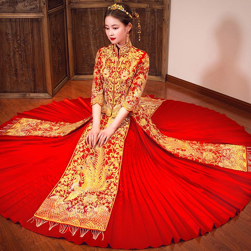 秀禾服新娘2019新款春季结婚礼服敬酒服中式婚纱嫁衣龙凤褂秀和服