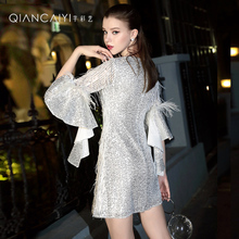 White tuxedo can be worn in the early autumn 2019 new temperament birthday party dress dress dress 9279
