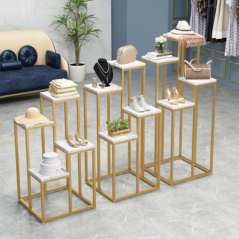 轻奢简约仿大理石橱窗服装店展示架金色包包鞋帽陈列架展示台货架