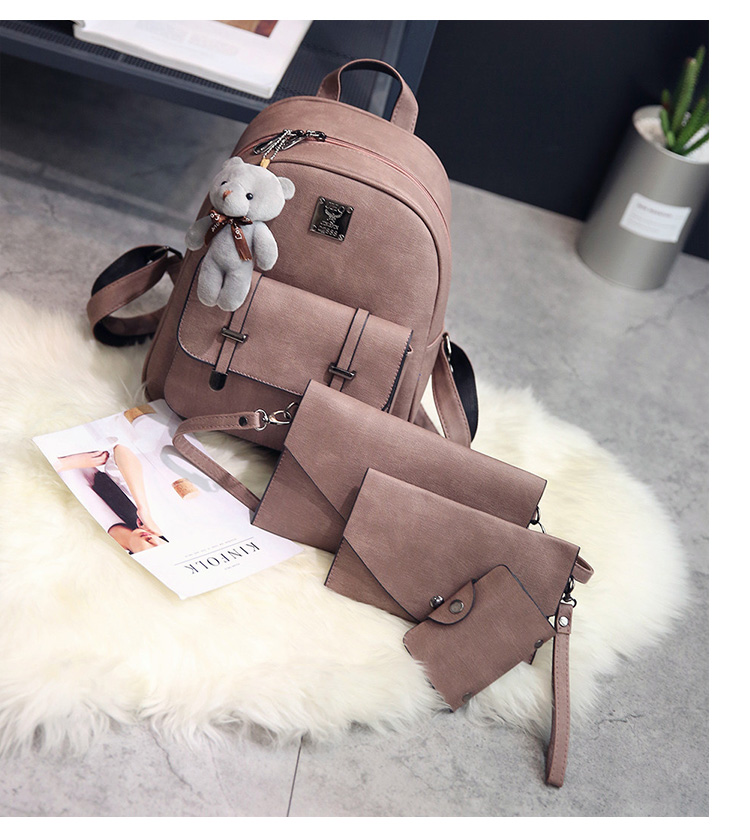 Pu shoulder bag female bag retro Japanese and Korean style backpack travel bag picture wave packet campus college wind schoolbag