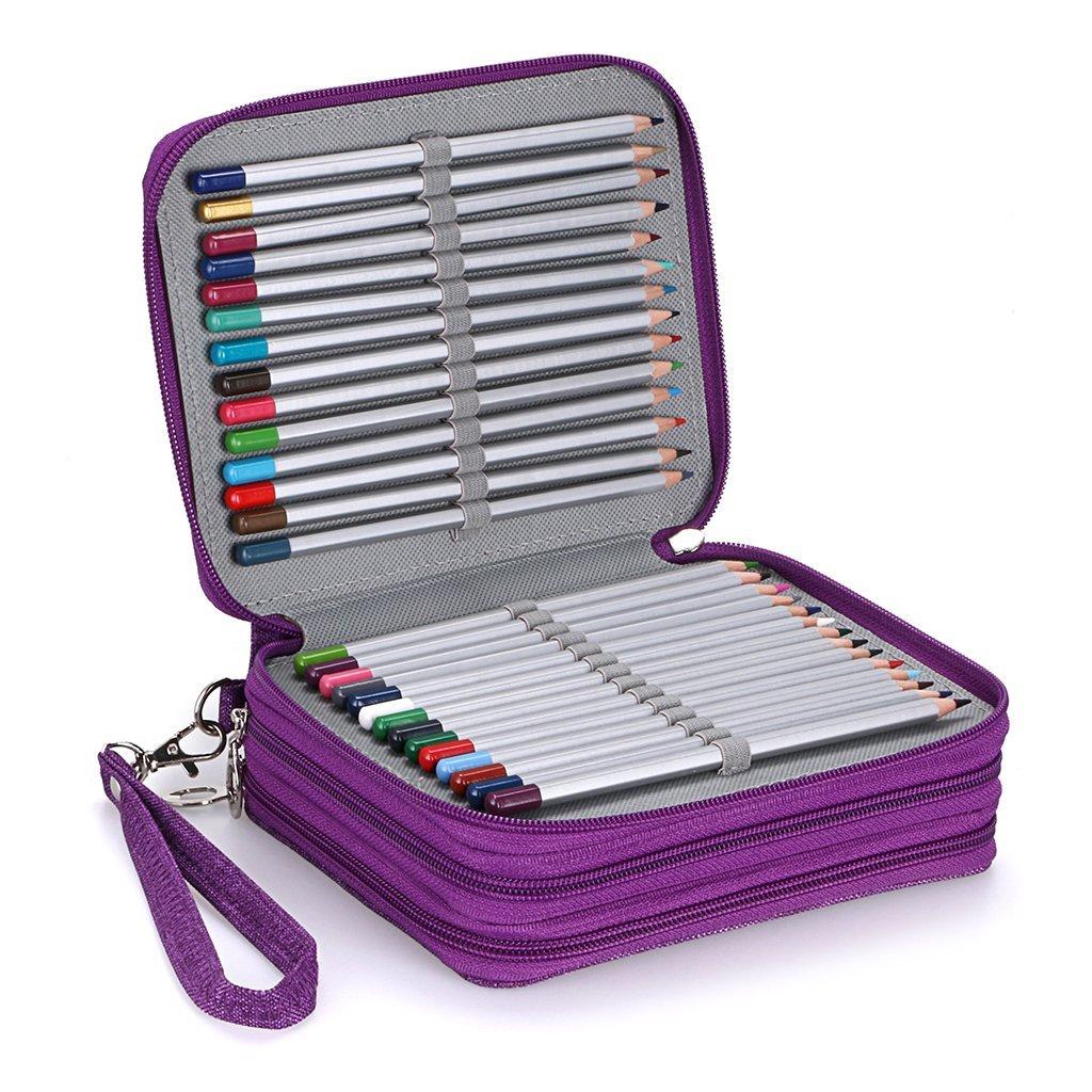 2018新款大容量72色收纳笔袋笔帘美术彩铅笔帘学生文具盒包邮