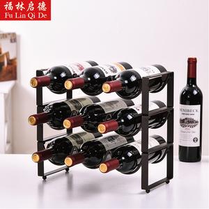 现代欧式创意可叠加铁艺红酒架家用酒瓶置物架客厅酒柜摆件展示架
