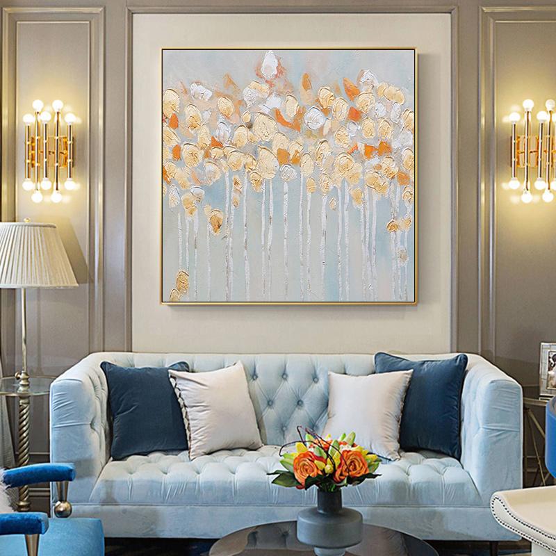 抽象油畫金銀箔樹現代美式玄關餐廳背景墻掛畫原創輕奢手繪裝飾畫