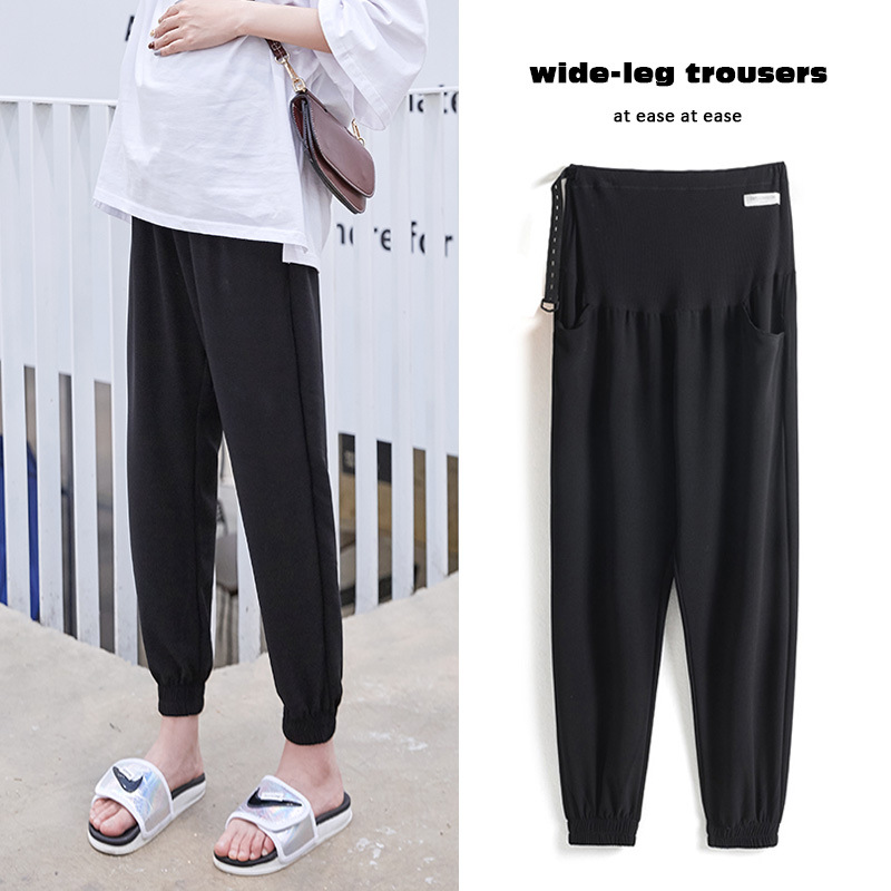 Pregnant womens pants Summer High Waist Chiffon casual pants thin wear black cropped pants wide loose belly Pants Large