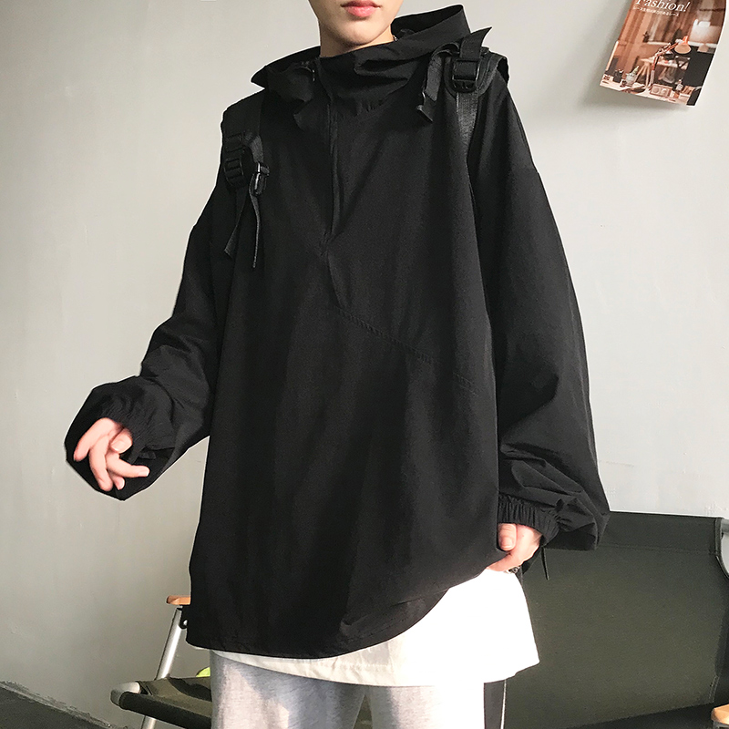 Autumn and winter mens and womens long sleeve hooded loose sweater half high neck T-shirt for lovers
