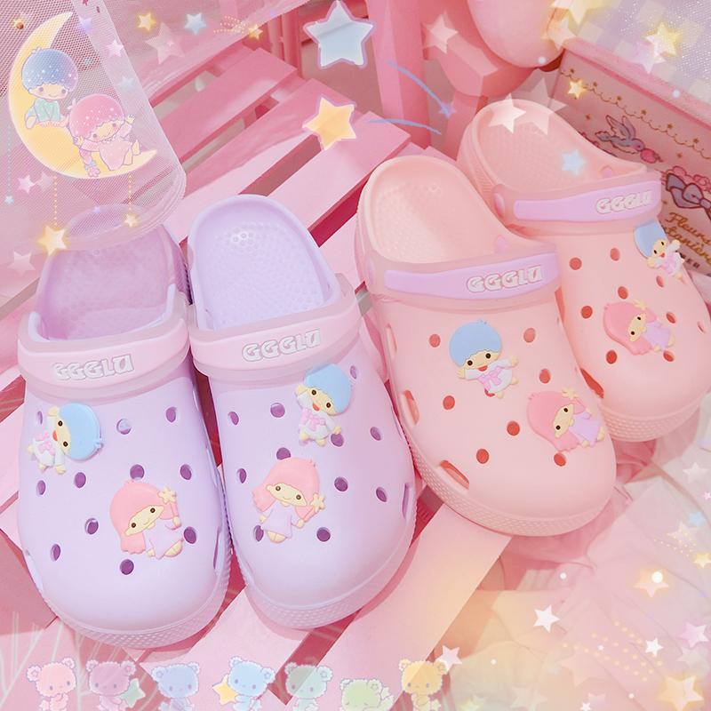 可爱双子星洞洞鞋少女心厚防滑拖鞋手慢无