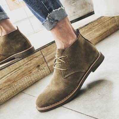 馬丁靴男春夏季真皮小短靴男靴子高幫鞋英倫風中幫復古沙漠靴潮