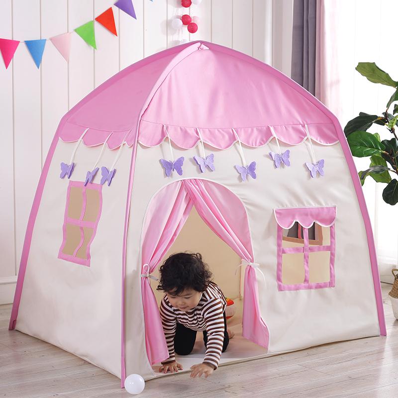 子供のテントのゲームルームの女の子の室内の王女の部屋はベッドの神器の家庭用の小さい家の砦を分けます。