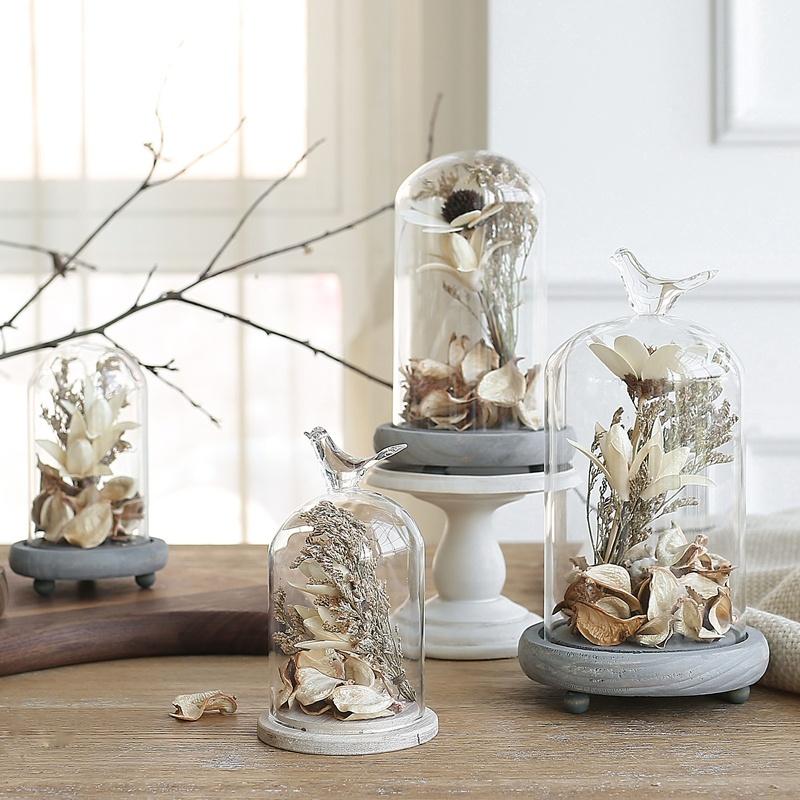 米子家居 简约现代装饰品干花摆件客厅办公室桌面创意玻璃罩摆设