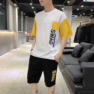 夏季男士短袖t恤套裝短袖休閑運動體桖韓版潮流夏裝