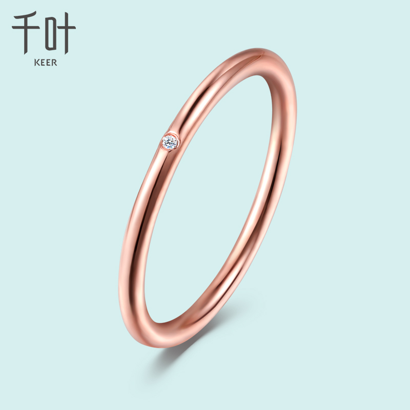 Chiba Jewelry 18K gold ring with diamond rose gold thin ring stacked au750 female donut gift