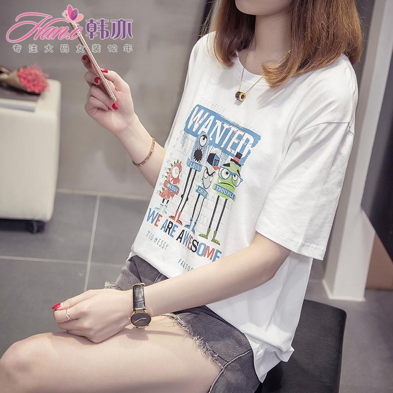 韩亦 洋气夏胖妹妹2018新款大码女装200斤显瘦可爱短袖t恤女宽松