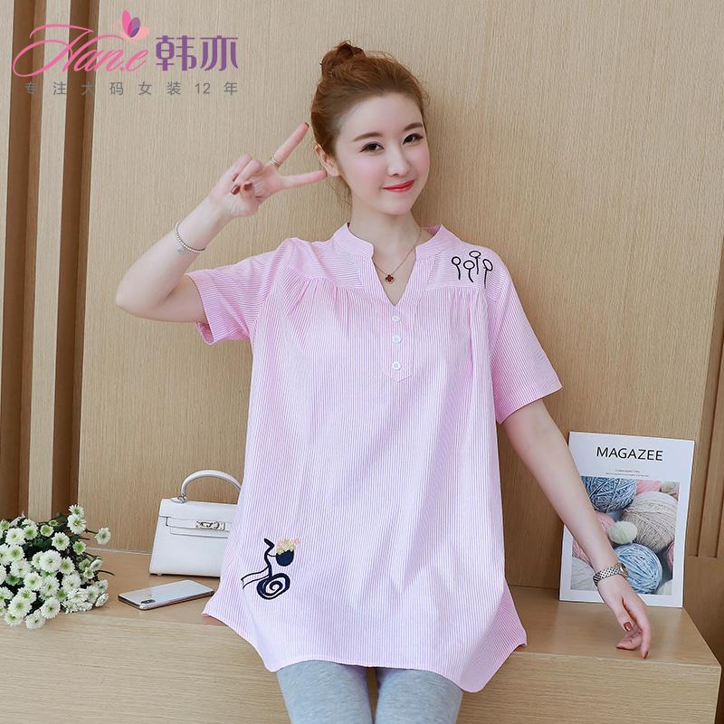 韩亦 2018新款大码女装胖mm夏装短袖宽松显瘦条纹短袖t恤女打底衫