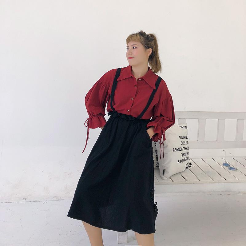 兰调大码甜美可爱小清新简约喇叭袖衬衫宽松显瘦绑带背带裙两件套