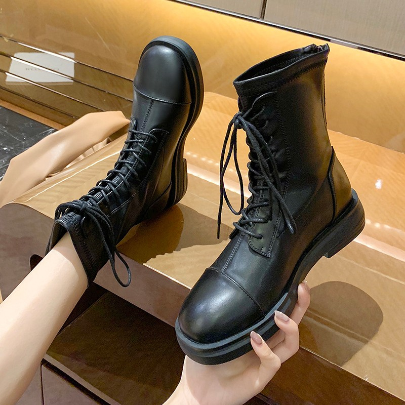Short boots women spring and autumn 2020 new versatile short boots comfortable elastic boots flat bottom lace up black Martin boots