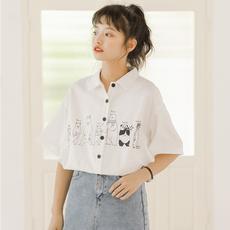 短袖少女白色衬衫女2019新款上衣衬衣设计感小众韩版夏宽松学生秋