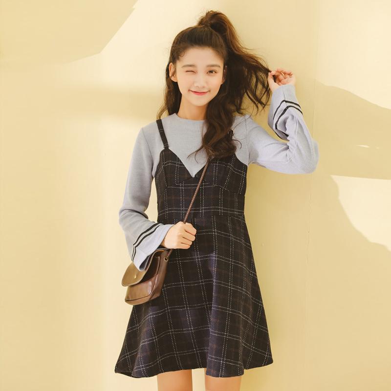 假两件连衣裙女学生韩版2018新款秋小清新甜美可爱初恋裙复古裙子
