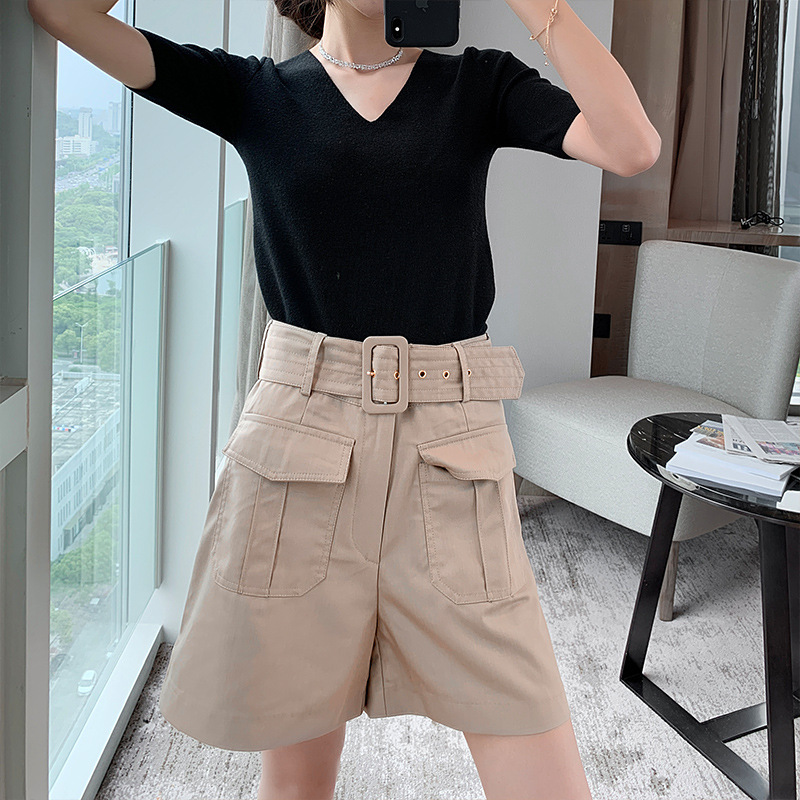 Recommended self retaining pants fabric unique tooling hunting style straight tube High Waist Shorts womens summer / with belt