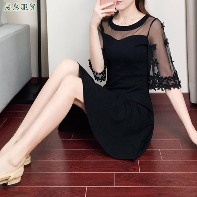 夏のワンピース2020新型婦人服修身がやせて見える網糸のシフォンはプリーツスカートをつなぎ合わせて恵五分袖になります。