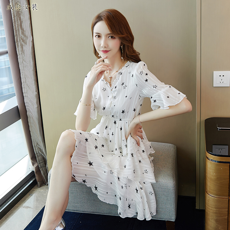 Summer womens dress 2020 new dress Korean version fresh floral dress feminine style waistline show thin Chiffon Skirt