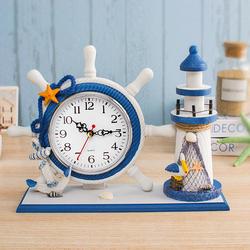 地中海风格座钟家居摆钟客厅卧室家用装饰小钟表儿童房书房摆件台