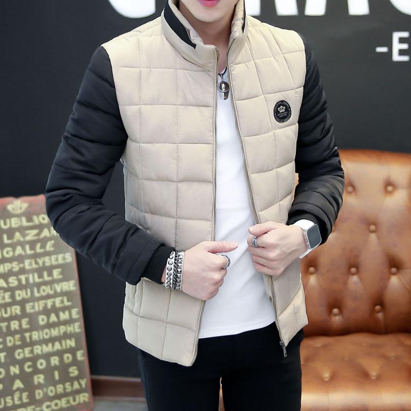 Новая тенденция 2016 мужские зимние пальто с стеганые куртки пальто на осень/зима молодежи мягкие короткие Мужские перо и Хлопок одежда